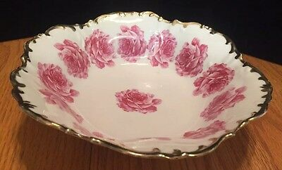 "Gorgeous Prussia ""beauty Rose"" Embellished Large Scalloped Edge  Bowl(16)"