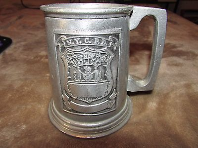 """Vintage 4.75"""" High NYPD Pewter Mug Stein NEW YORK CITY POLICE DEPARTMENT NYCPD"""