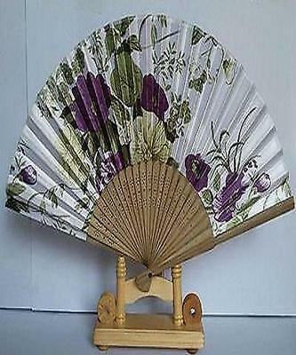 Chinese Bamboo Folding Silk HAND FAN with Flowers Wedding Party Gift
