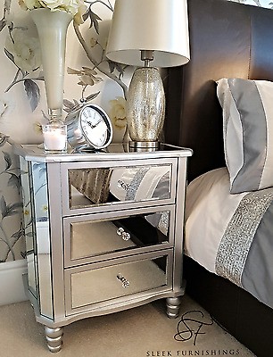 Mirrored Bedside Tables Chest of Drawers Silver Shabby Chic Mirror Furniture