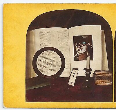 Stereo Stereoview Genre (The Magnifier) Still Life with candle 1860er