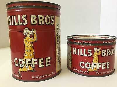 Vintage Hills Bros Coffee Tins Cans 1 & 2 lb Key Wind Empty