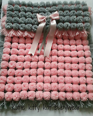 Pom Pom Turnover Baby Blanket Baby Pink & Silver Grey  With Removable Bows
