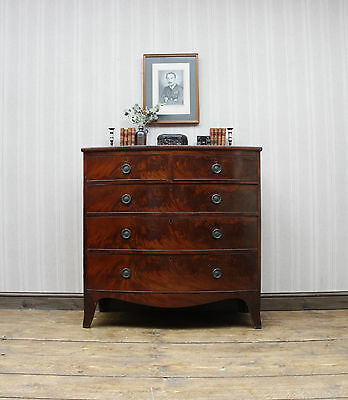 Antique Mahogany Bow Chest of Drawers, Attractive Well Aged Bedroom drawers