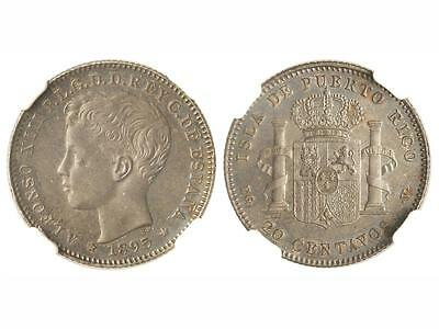 Puerto Rico 1895 20 Centavos-HIGH QUALITY    Very Rare.