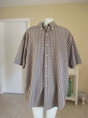 Brooks Brothers Men's Brown Plaid Short Sleeve Cotton Shirt Size L