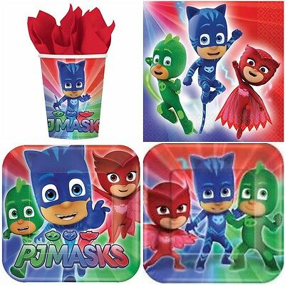 PJ Masks Birthday Party Kit Set for 8 People Cups, Plates, Napkins Cutlery