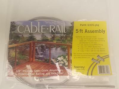 """FEENEY Cable Rail Assembly System CR-6305-PKG for Wood, 1/8""""  5' Long NEW Sealed"""