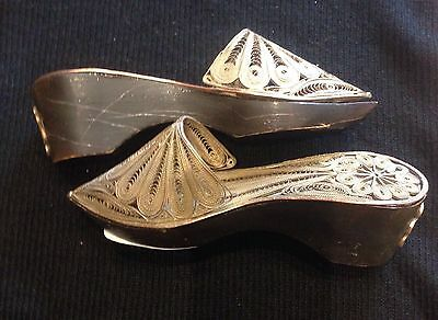 A pair of old Silver filigree miniature Ottoman Turkish Lady Shoes. Circa 1920s