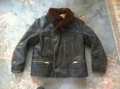 Vintage 30S 40S Horsehide Leather Barnstormer Flyer Motorcycle Jacket Car Coat