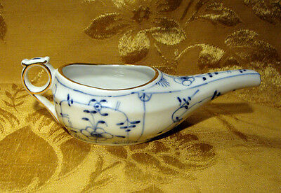 Vintage *blue Onion* Invalid Feeder Porcelain Gold Trim Made In Germany
