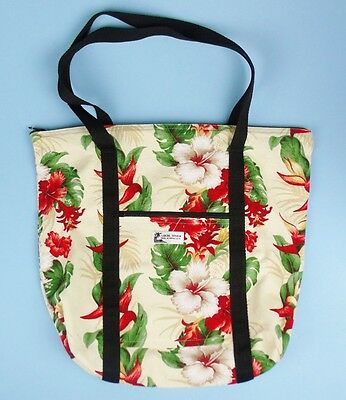 LOCAL DESIGN Made In Hawaii Cotton CANVAS TOTE BAG Red Floral HIBISCUS