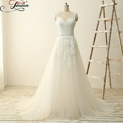 New Ivory White A Line Wedding Dress Bridal Gown Size 6 8 10 12 14 16 18 20+ UK