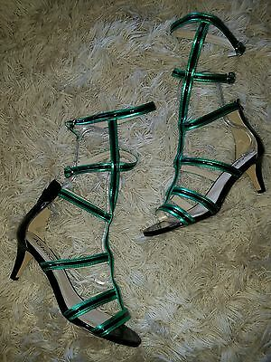 Women's Ashro Gladiator Buckle Straps Sandal Heels Green Black 9.5W