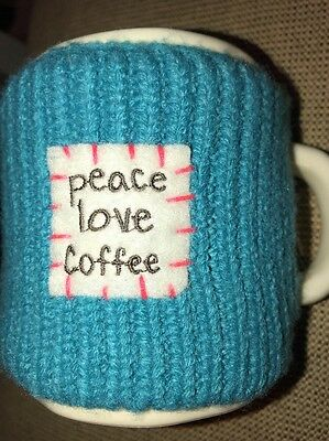Ivory Coffee Tea Mug Turquoise Knit Cozy Peace Love Natural Life Collection RARE