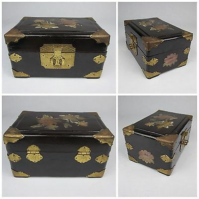 #602 Vintage Chinese Brown Lacquered Wood Brass Jewelry Box Chest Shell Inlay