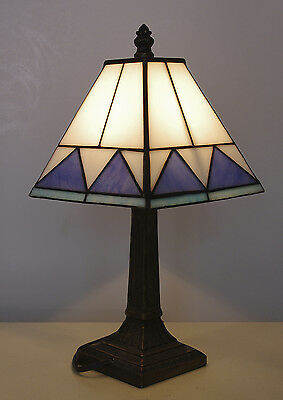 Vintage Mission Tiffany Style 14 1/4 Inch Table Lamp