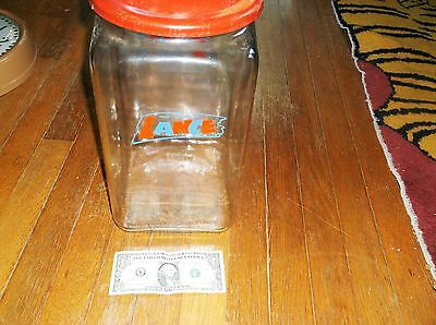 "Rare Large ""from The House Of Lance"" Jar, Old,pattern Glass Bottom,red Top,exc."