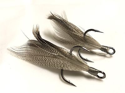 "Owner ST-41 BC 2X Strong 1//0 /""Smoke/"" Xmarks Custom Feathered Trebles"