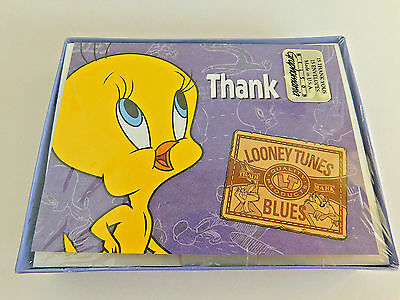 Warner Bros Looney Tunes Blues Tweety Bird Thank You Note Cards 15 New in Box