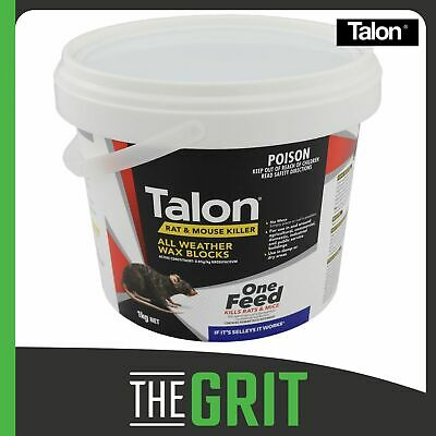 Talon Wax Blocks 1kg Rat Mouse Bait Poison Killer Rodenticide Blox Brodifacoum