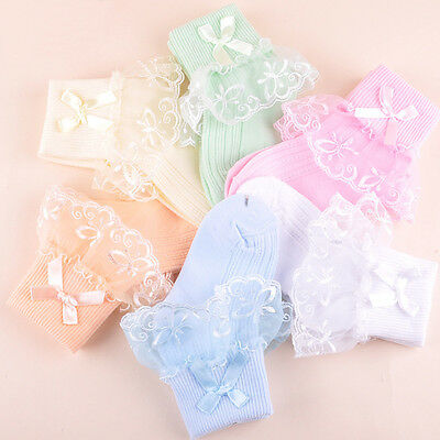 New Kids Toddlers Girls Solid Colors Soft Cotton Lace Casual baby Socks