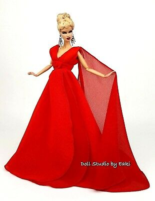 Red Chiffon Ball Gown Evening Dress Outfit Fits Barbie Silkstone Fashion Royalty
