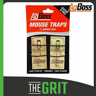 AgBoss Wooden Mouse Trap Mouse Mice Reusable Rodent Spring Traps