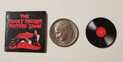 "Dollhouse Miniature Record Album 1"" 1/12 scale Barbie Rocky Horror Halloween"