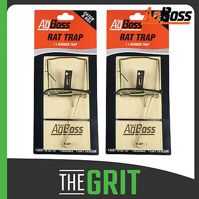 AgBoss Wooden Rat Trap Rats Reusable Rodent Spring Traps