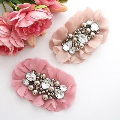 1 chiffon rhinestone / beaded flower applique-for millinery / hair / crafts