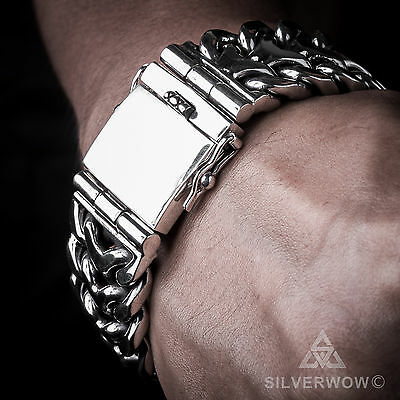 Herringbone Unique Mens Silver Bracelet - Quality Unique Heavy Wristwear.