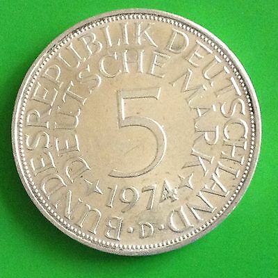 1974 D Germany 5 Mark Silver Coin