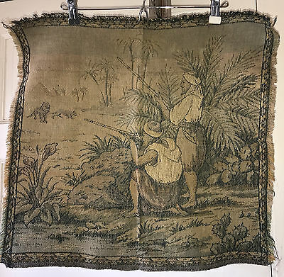 "Antique Vintage Square Tapestry Panel Hunters Lions Egypt 20"" x 19"""