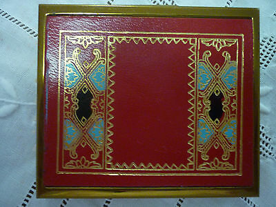 Vintage Art Deco Goldtone & Patterned Leather Powder/Mirror Rectangular Compact