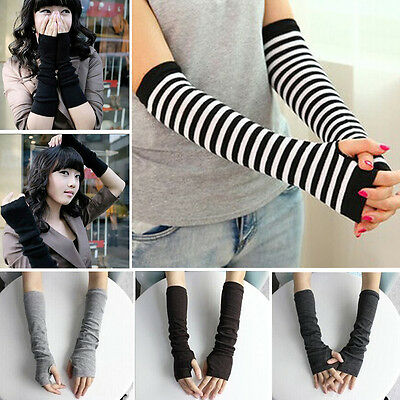 Lady Stretchy Soft Striped Wrist Arm Warmer Long Sleeve Fingerless Gloves New HG