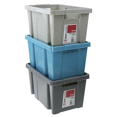 24 x Stackable Crate Small Plastic Storage Tub Container Bin Grey Blue