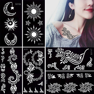 Henna Tattoo Stencil Temporary Rose Flower Pattern Body Painting for Arm Leg Art