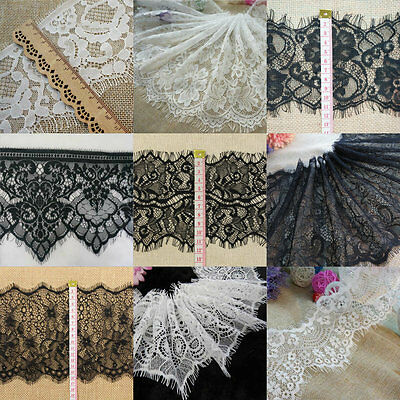 3M Eyelash Lace Edge Trim Floral Mesh Scalloped Sewing Trimmings Wedding Bridal