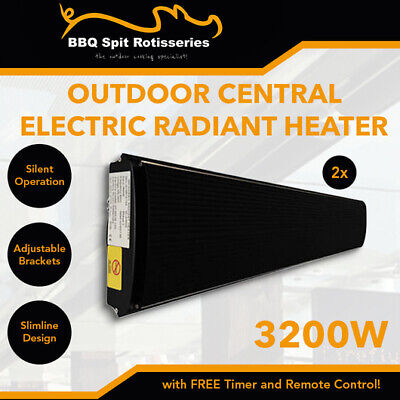 2 x 3200W Electric Infrared Radiant Outdoor Strip Heater