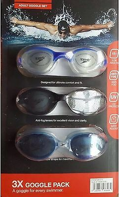 Speedo Adult Unisex Swimming Goggles UV Protection Anti Fog Speed Fit 3 Pack