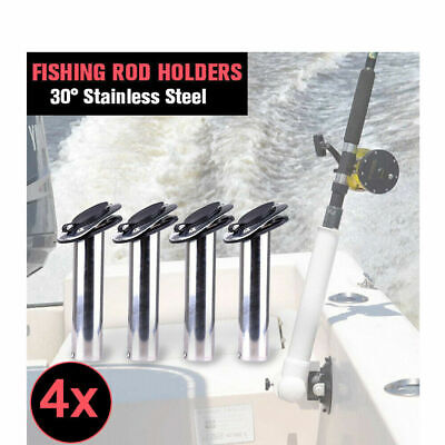 4x Stainless Steel Boat Fishing Rod Holders Flush Moun w/ Gasket Cap 30 Degree