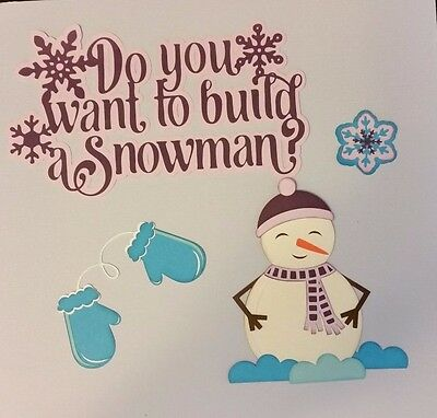 Snowman Building Die Cut Paper Piecing Scrapbook Embellishment Layout Premade