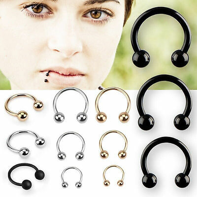 10Pcs Stainless Steel Horseshoe Bar Lip Nose Septum Ear Ring Stud Piercing Set