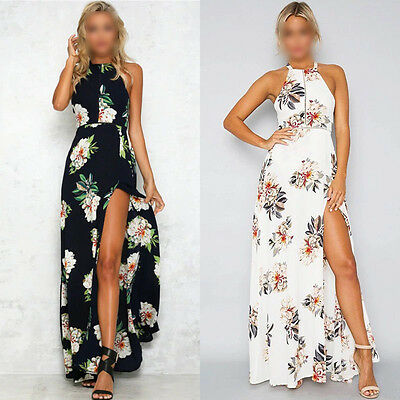 UK STOCK Womens Maxi Boho Floral Summer Beach Long Skirt Cocktail Party Dress