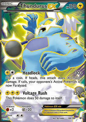 Pokemon Card: Thundurus EX - 98/108 - Full Art Ultra Rare XY Roaring Skies