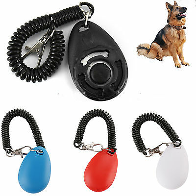 Dog Pet Training Clicker Teaching Reward Treat Tool Stretch Cable Keying Uk