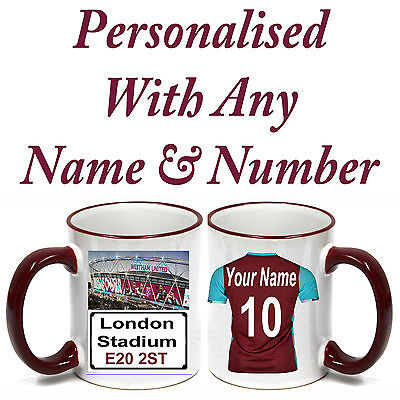 PERSONALISED  FOOTBALL SHIRT MUG FOR ALL West Ham United‎  FOOTBALL FANS.