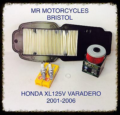 HONDA XL125V VARADERO 01-06 Service Kit, Oil Filter, Air Filter, Plugs. SER1182