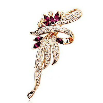 Beautiful Gold Plated Purple Clear Crystal Fashion Flower Statement Brooch